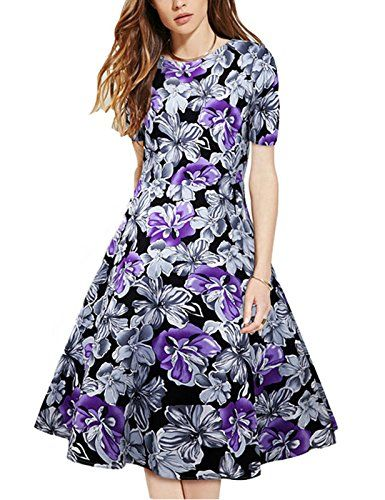 86fba0699a3f Mulanbridal Womens Vintage 1950s Floral Spring Garden Party Picnic Dress  Swing Rockabilly Evening Dress Purple L    Learn more by visiting the image  link.