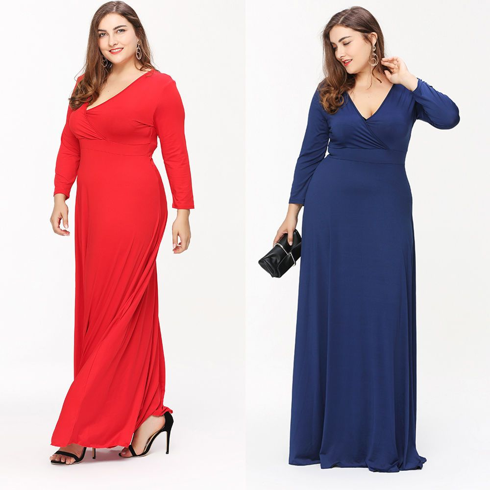 Plus lxl deep v neck long sleeve women maxi evening formal party