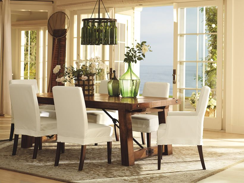 Furniture, : Artistic Dining Room Design Ideas Using Rectangular Oak Wood Dining  Table Along With White Fabric Arm Dining Chair And Square Tapered Chair ...