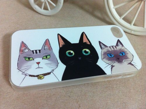Cute Cats Design Hard Case Cover for iPhone