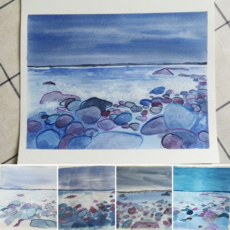 Westward Ho Seascape Watercolour Painting Shown Alongside The