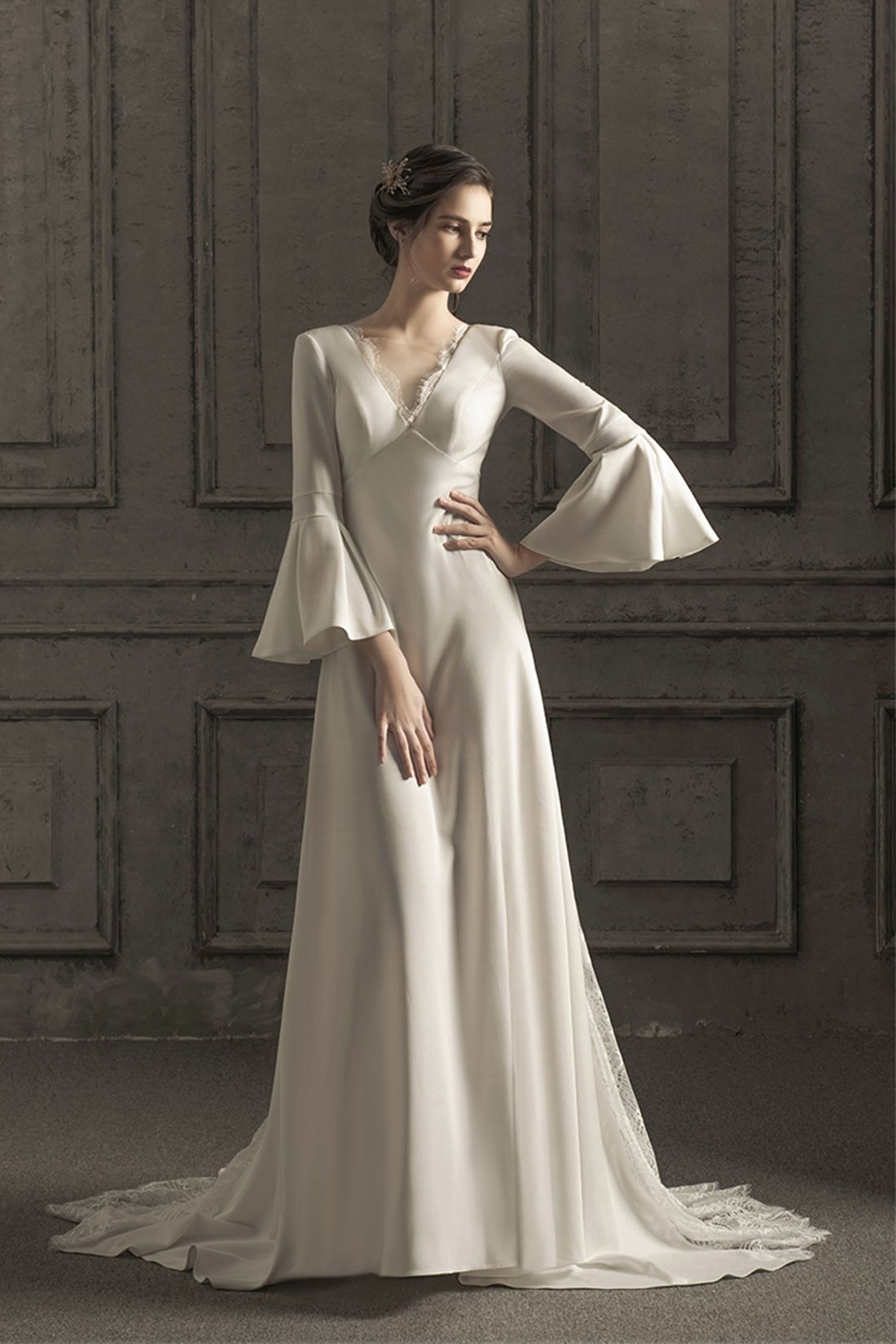 Lace Crochet Flare Sleeve V Neck Corset Back Satin Wedding