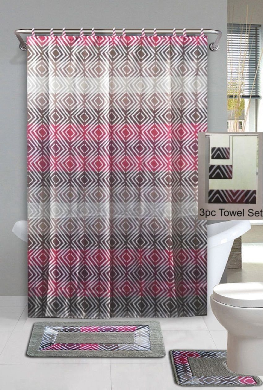 18 Pc Bathroom Accessory Collection Setshower Curtain With Hooks Pleasing Designer Bathroom Mats Inspiration Design