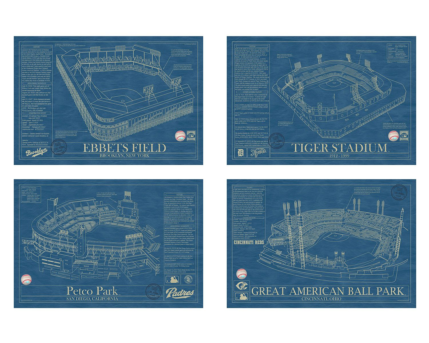 Baseball stadium blueprints baseball wall art baseball wall and gift ballpark blueprints baseball wall art yankee stadium malvernweather Image collections