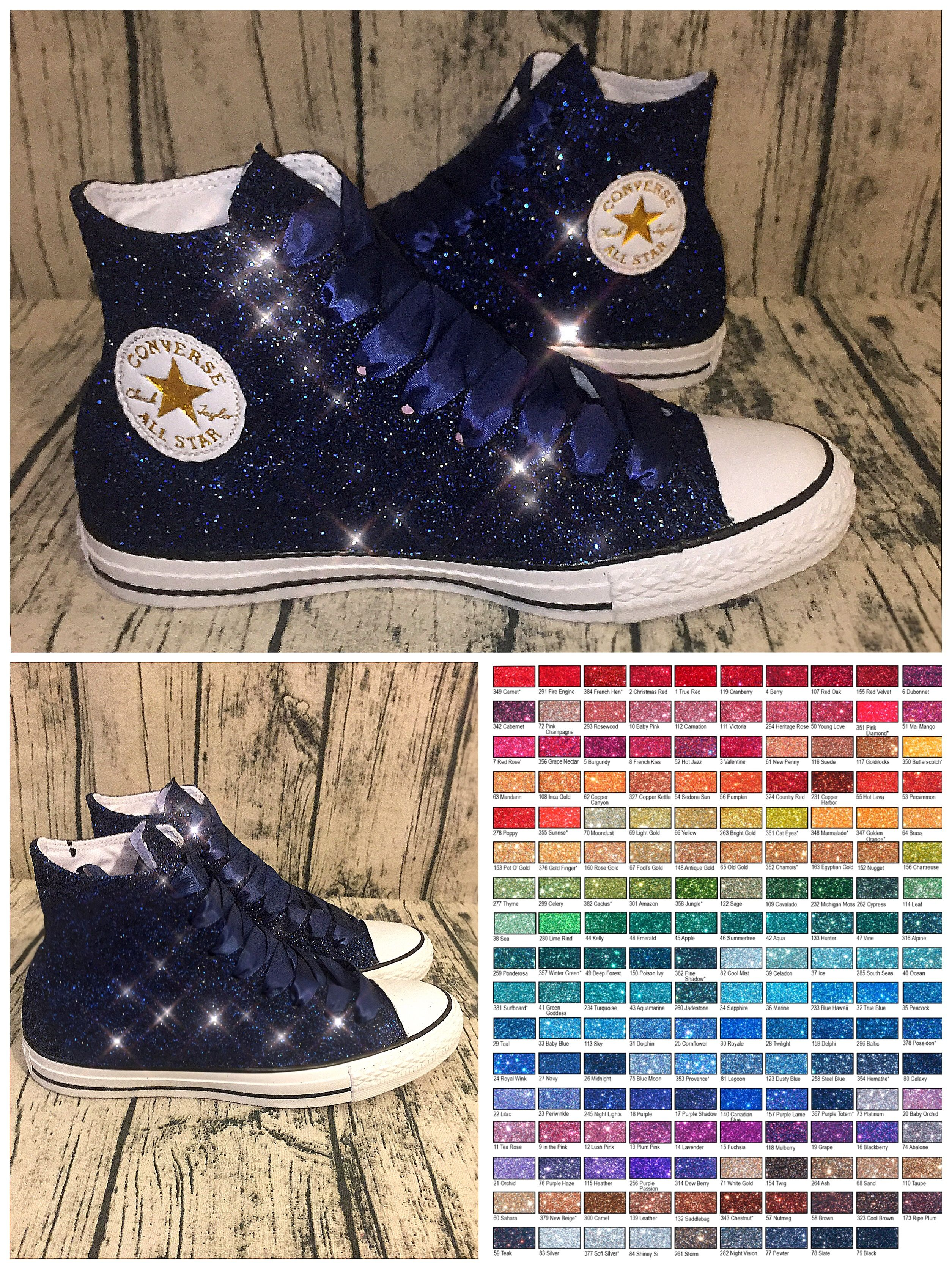 6a991bdc747e www.glittershoeco.com Women s Sparkly Navy Blue Glitter Converse. Custom  Made. High Top Low Top and Wedge Heels are available.