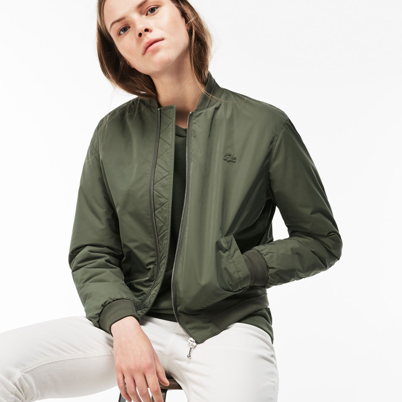 36b9786f5 Women's Contrast Bands Quilted Water-Resistant Taffeta Bomber ...