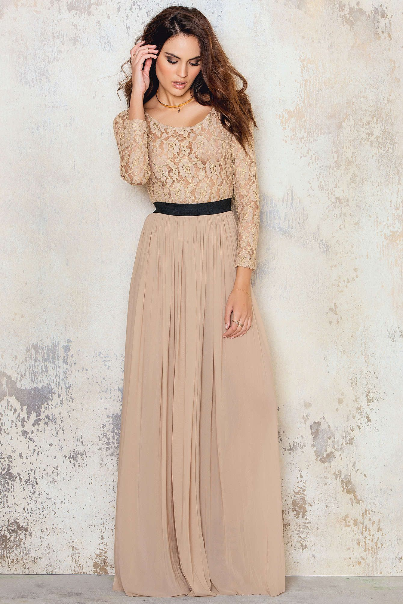 Feel like a princess in the long sleeve lace maxi dress by rare