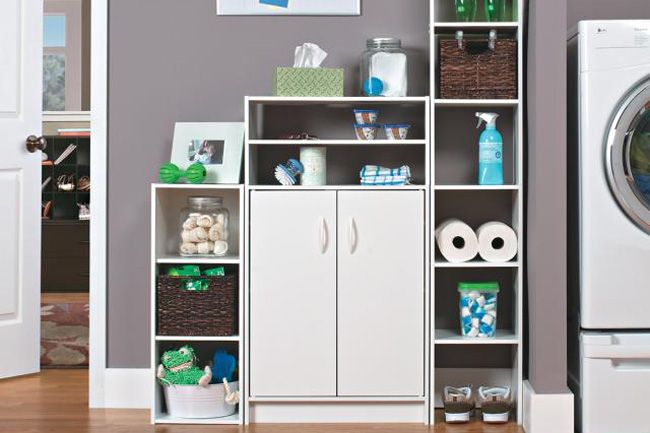 No Built In Storage In Your Laundry Area Closetmaid Laminate Shelving And Cabinets Are An Easy And Economical Solution Laundry Room Inspiration Laundry Room