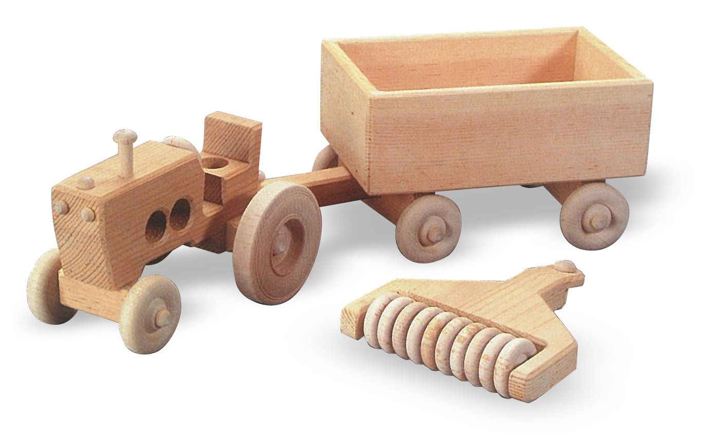 Buy A Wood Tractor And Trailer Farm Vehicle Wooden Model