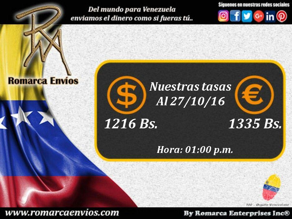 #TasaDeCambio 01:00pm #RomarcaEnvios #EnvioDeDinero #VenezolanosEnElExterior