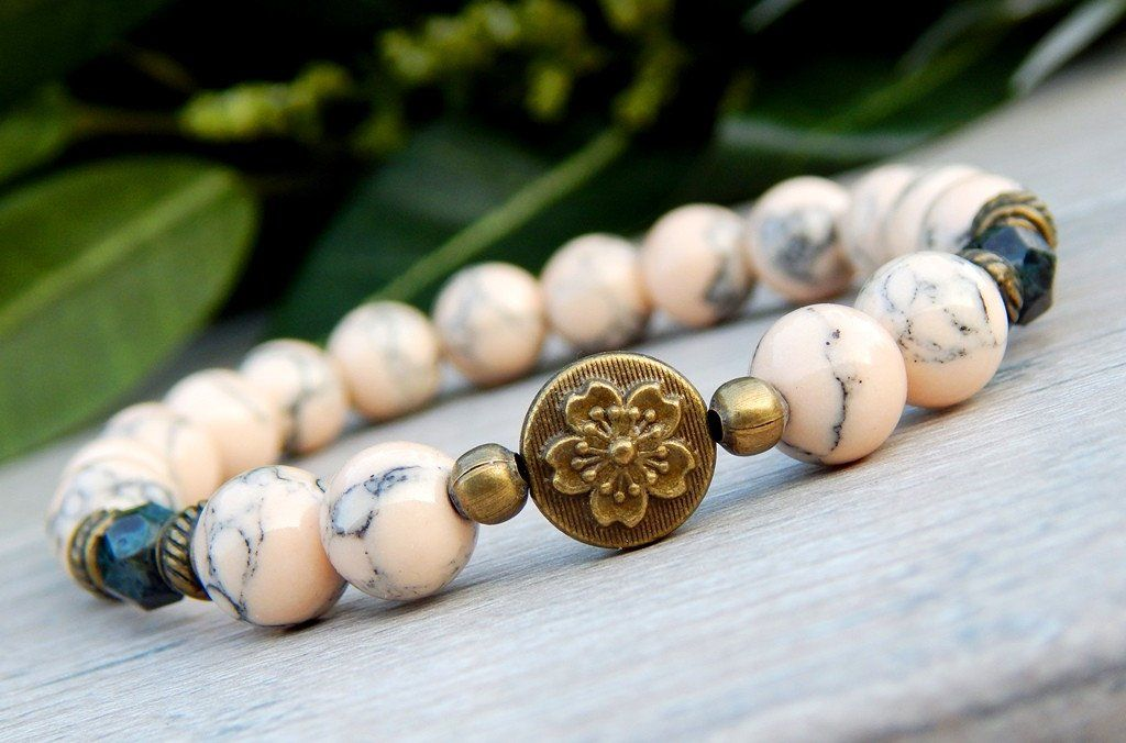 Nature Bracelet With A Flower Focal Bead Brown And Tan Beads