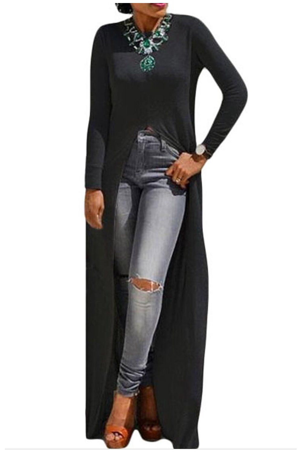 Aifer women sexy long sleeve open front split maxi dress tunic tops