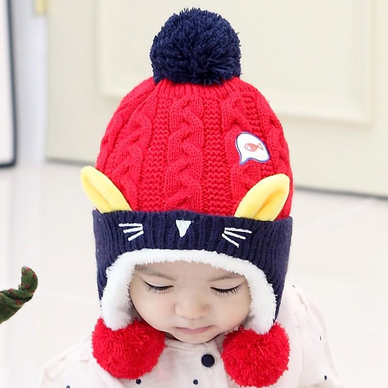 Cute Baby kids Cat Ear Crochet Knitted Winter Hat - Blindly Shop 4b6b1e4f8020