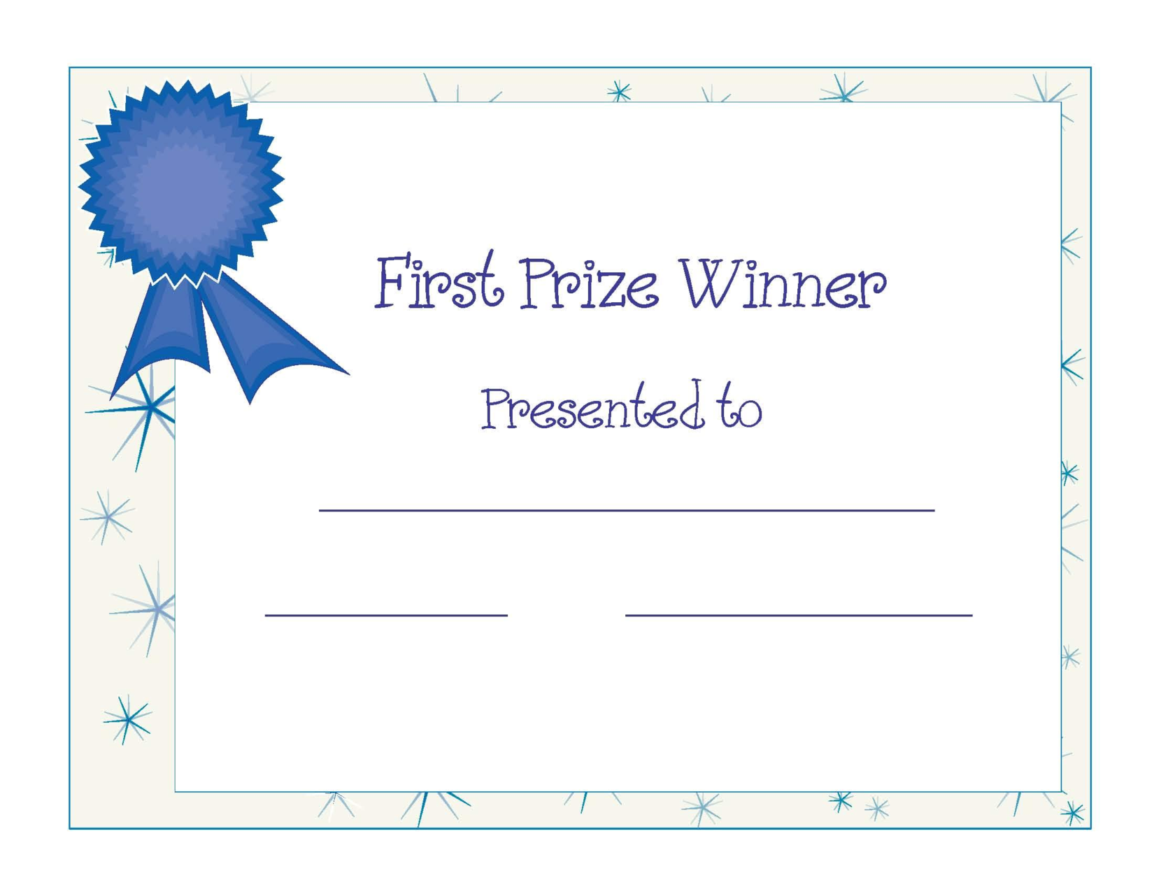 Free Printable Award Certificate Template | Free Printable First Prize  Winner Certificate Award PPT  First Place Award Template