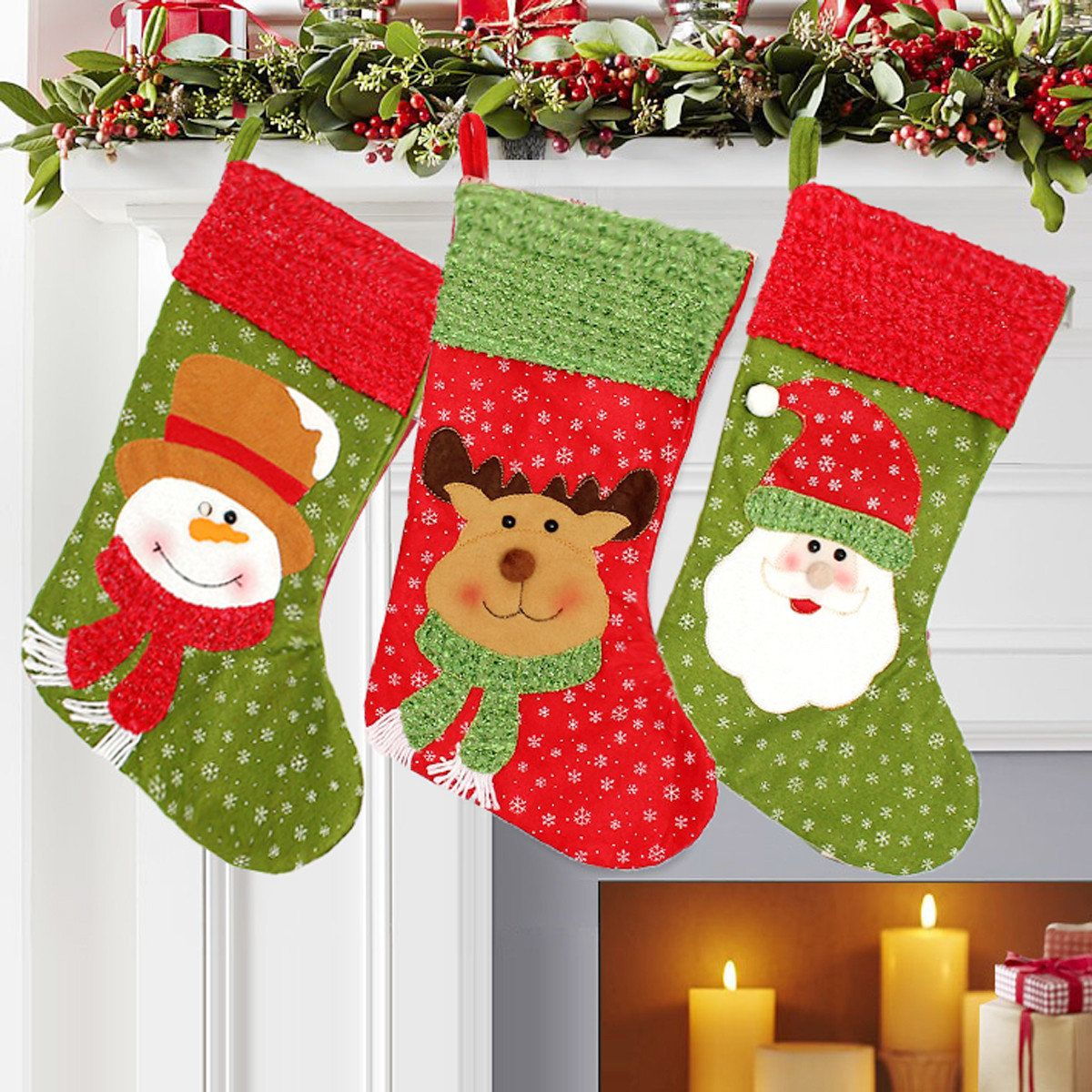 Christmas tree hanging decorations new parachute santa claus snowman - Christmas Santa Clau Snowman Elk Stockings Hanging Gift Bag Christmas Party Deocration