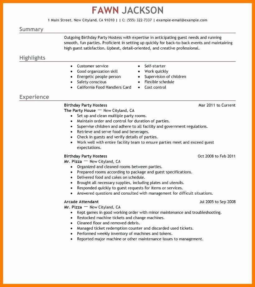 Hostess job description for resume beautiful 13 14 party