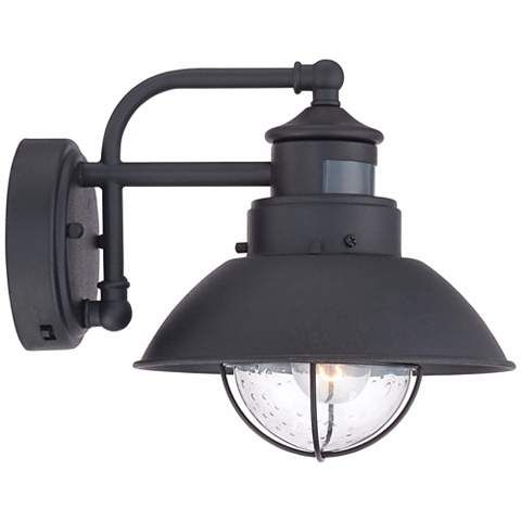 Oberlin 9 H Black Dusk To Dawn Motion Sensor Outdoor Light 5y111 Lamps Plus Outdoor Wall Light Fixtures Outdoor Wall Lighting Wall Lights