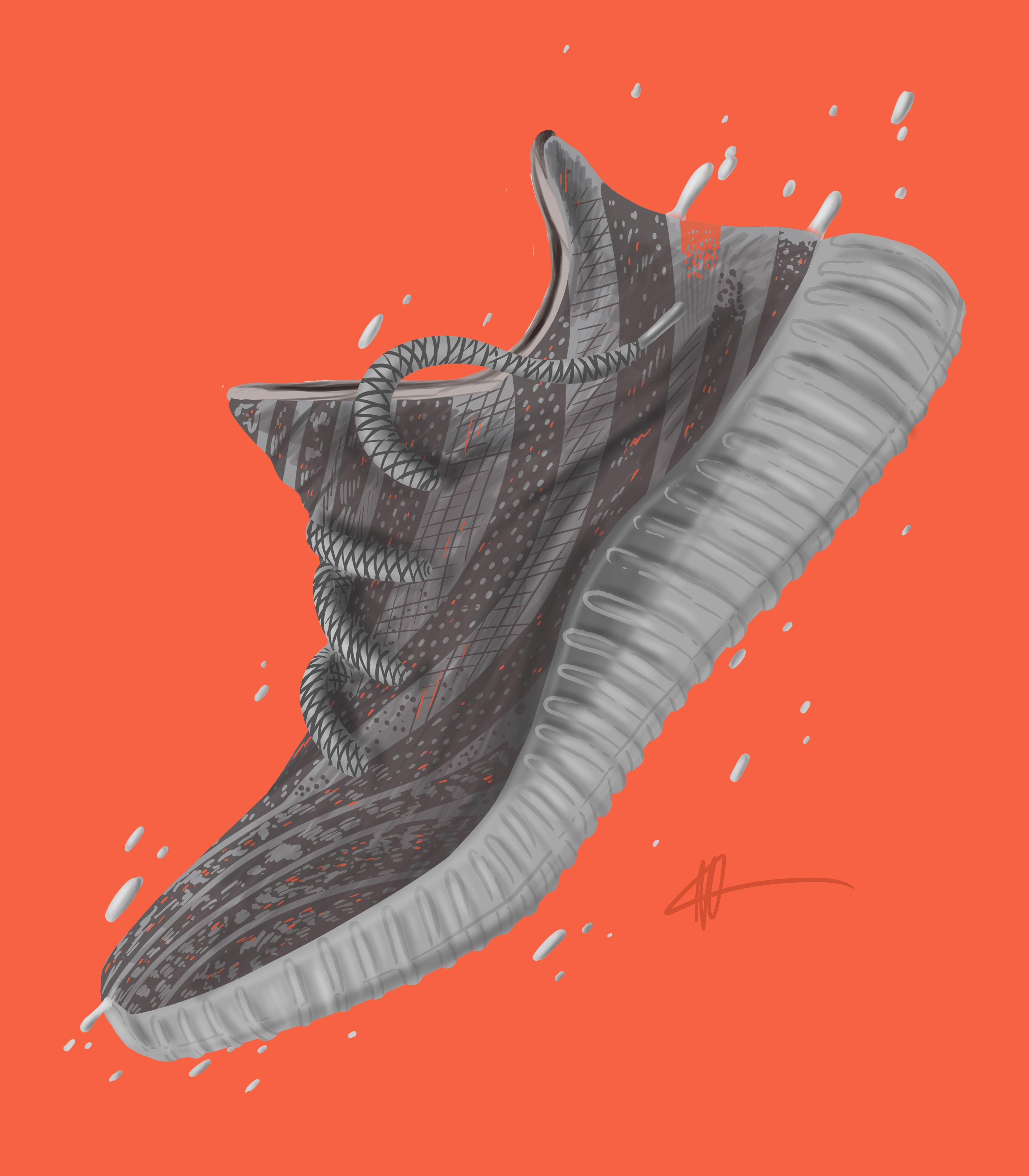 "Sneaker Art Yeezy Yeezy V2 "" Beluga"" Sneaker art"