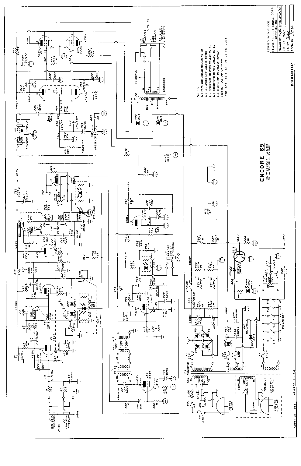 peavey schematics service manuals