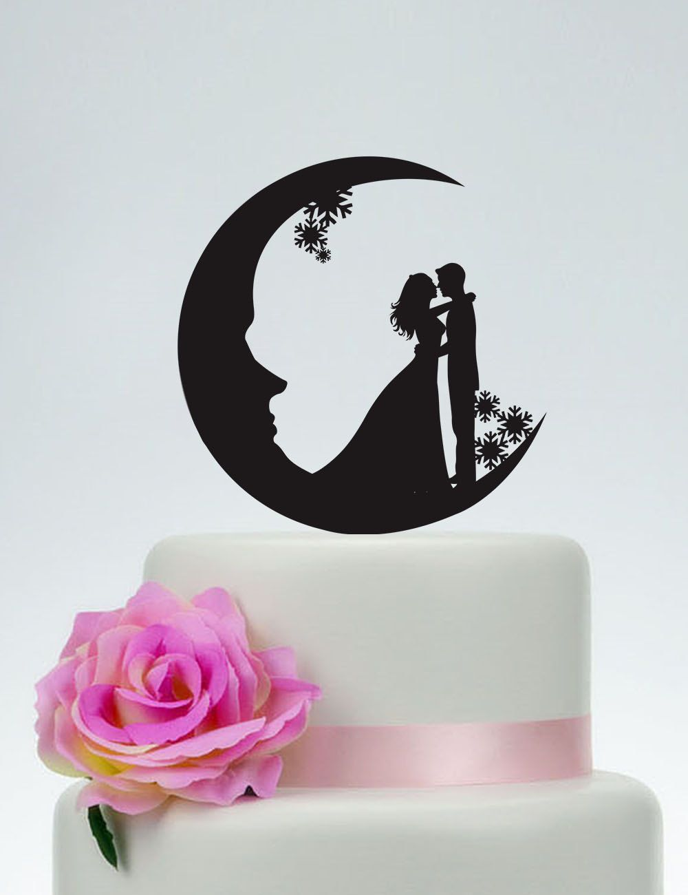 $11.99 - Moon Cake Topper Snowflake Customized Wedding Bride And ...