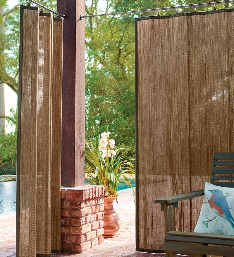 Attractive Idea For Hot Tub Privacy   Water Resistant Outdoor Bamboo Curtain Panels In  Dark Brown