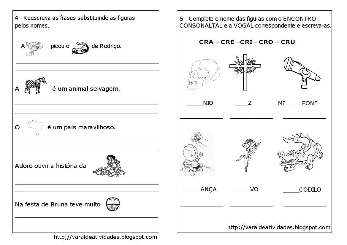 Encontro Consonantal Br Cr Dr Fr Com Imagens Atividades
