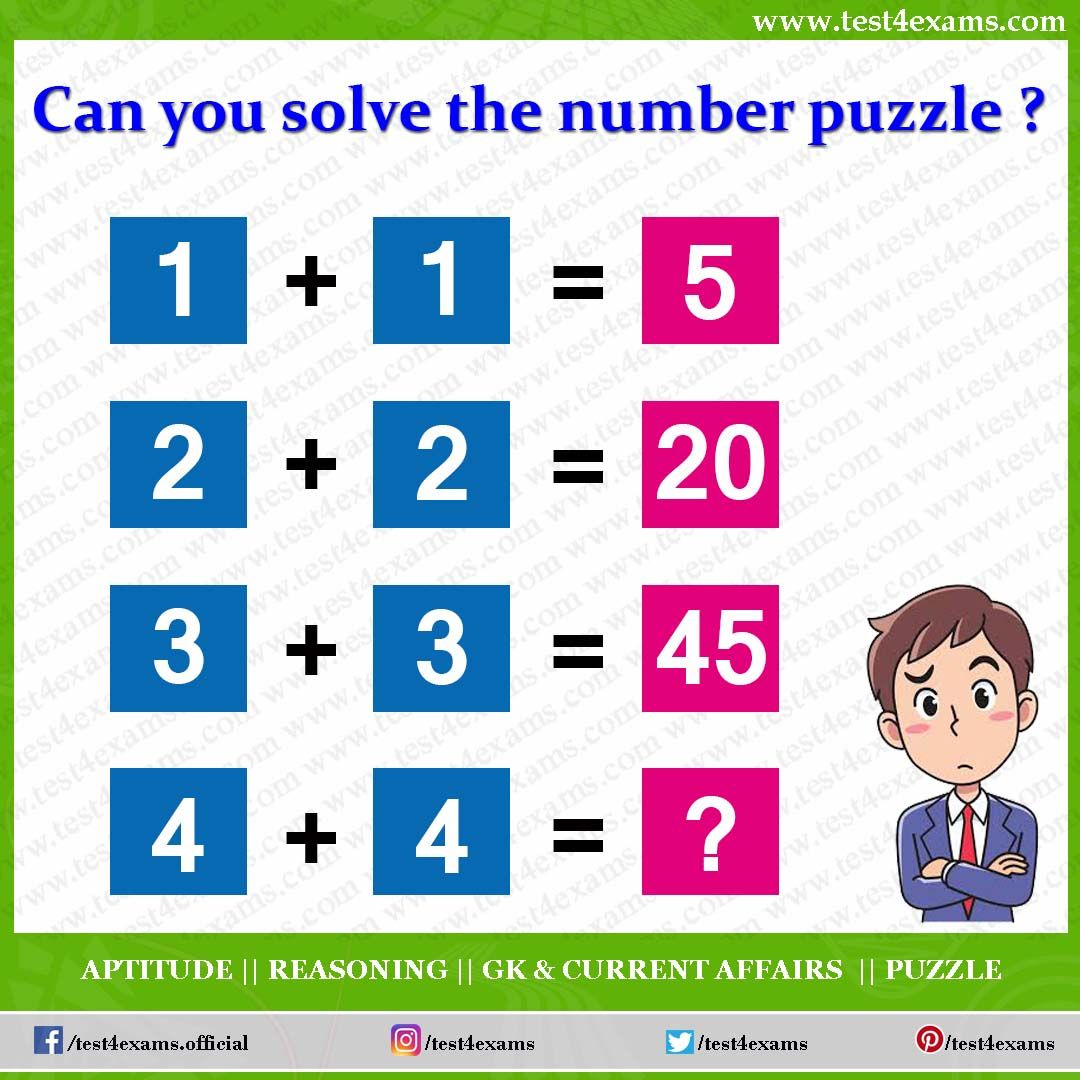Can You Solve The Number Puzzle 1 1 5 2 2 20 3 3 45 4 4 Correct Answer 80 Explanation Math Puzzles Brain Teasers Brain Teasers Brain Teasers Riddles