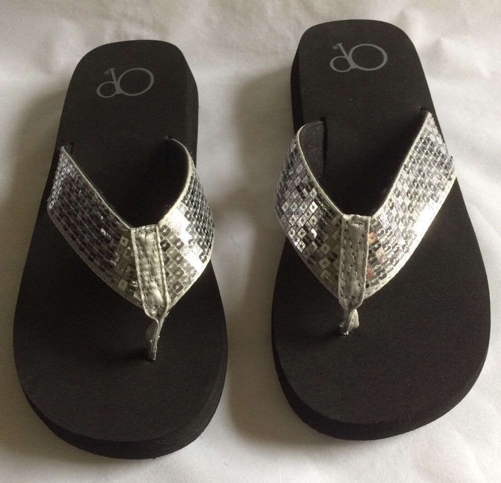 656f445bda6e1 NEW OP Flip-Flops Black Bottom with Silver Sequin Tops Women s Size 6 ( )  NWOT  OceanPacific  FlipFlops  Casual
