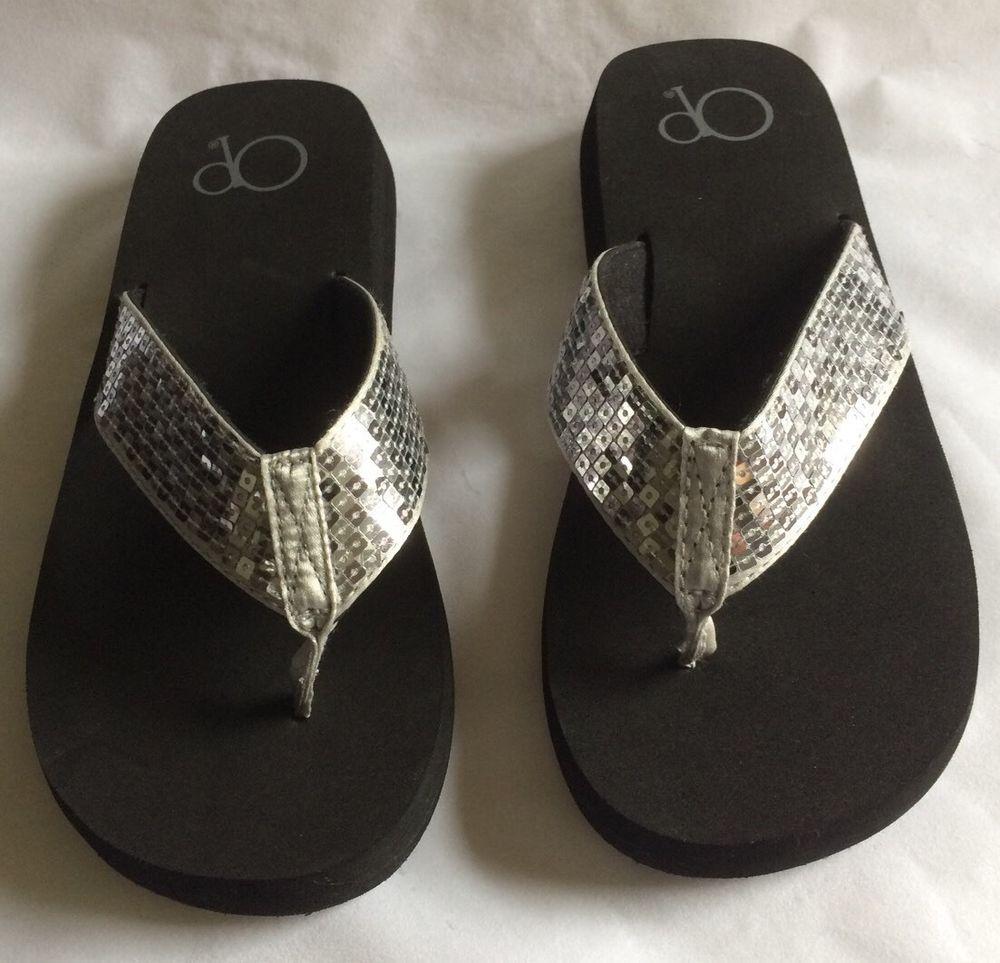 04b3bb6747329 NEW OP Flip-Flops Black Bottom with Silver Sequin Tops Women s Size 6 ( )  NWOT  OceanPacific  FlipFlops  Casual