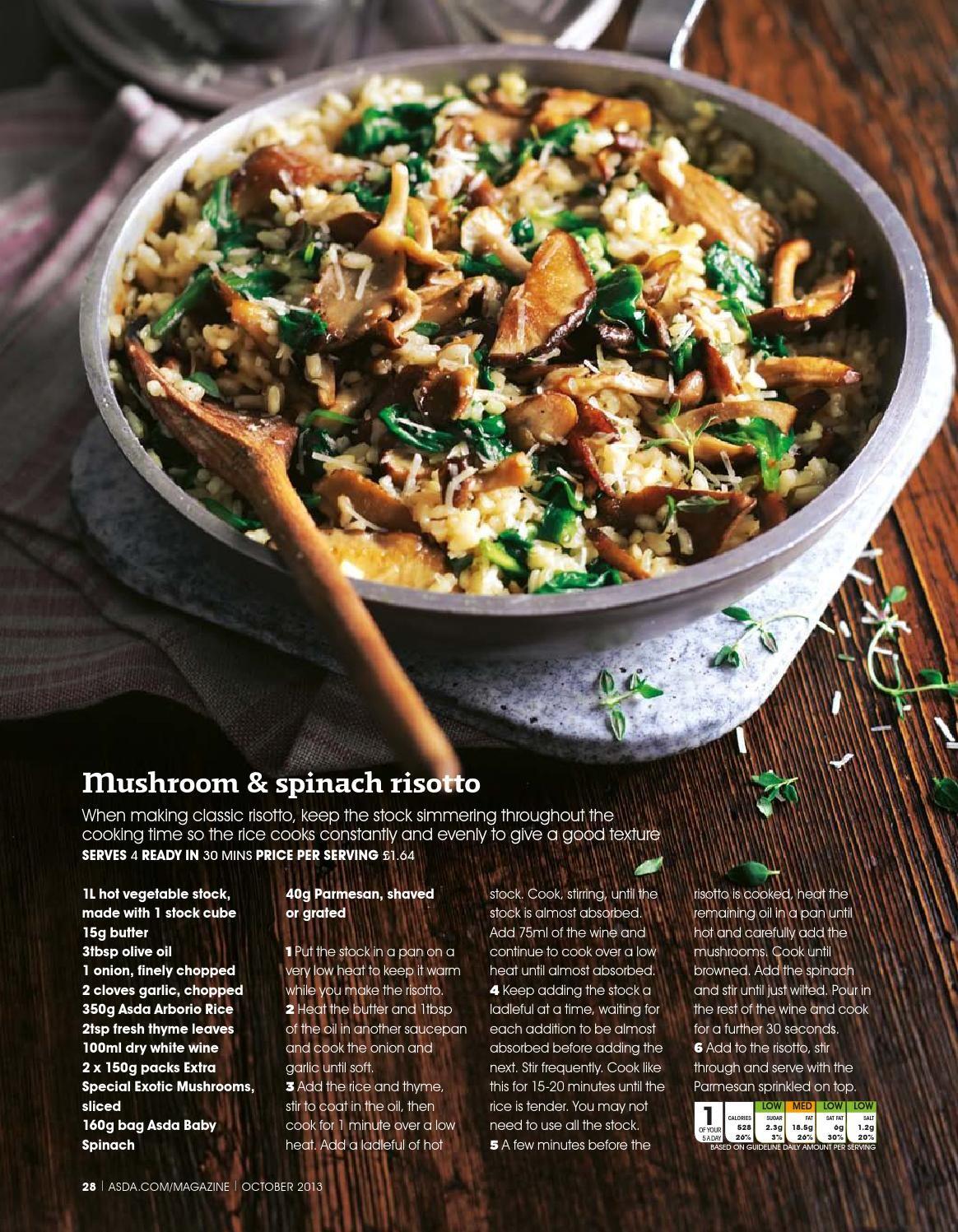 Asda Magazine October 2013 Spinach Risotto Asda Recipes Stuffed Mushrooms