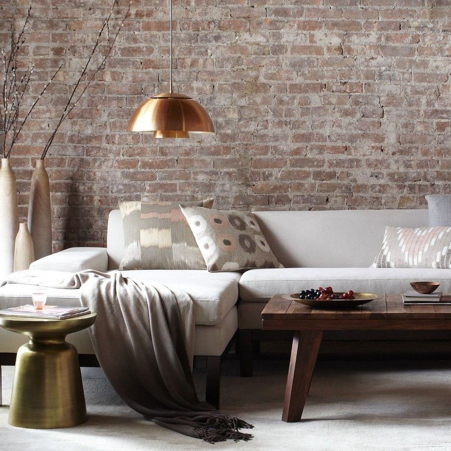 Stunning exposed brick interior walls design for living for Exposed brick wall living room ideas