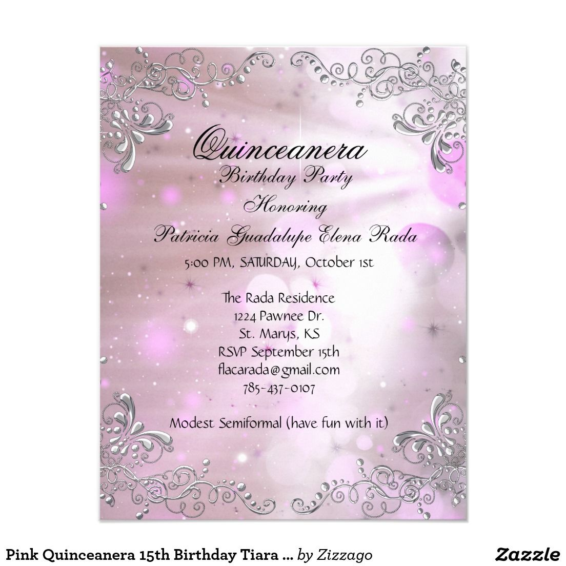 Pink Quinceanera 15th Birthday Tiara Masquerade Card | 15 años ...