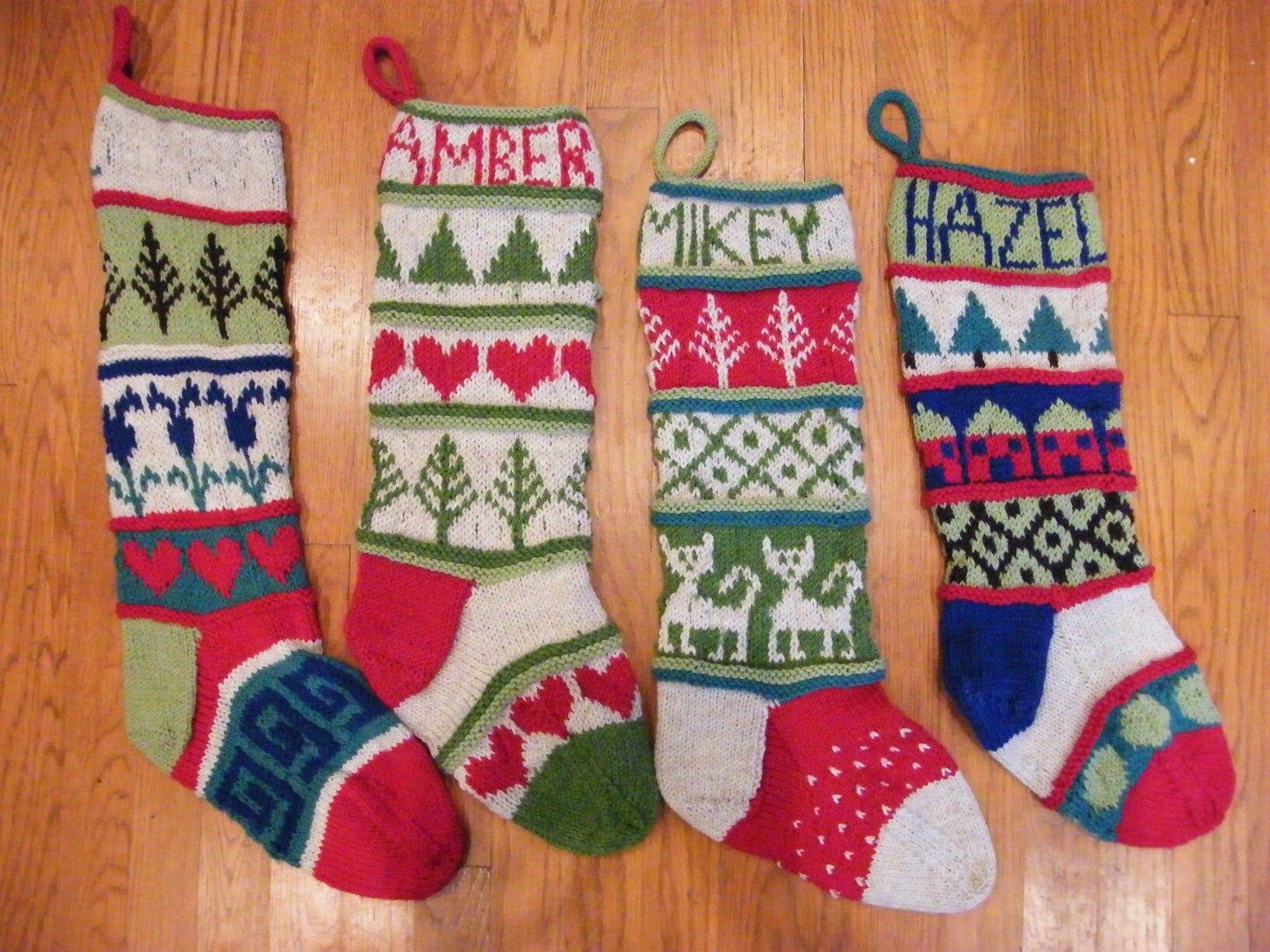 Knitted, christmas, stockings, stranded knitting,