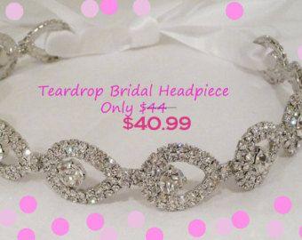 Teardrop Bridal Headpiece, Rhinestone Headpiece, ATHENA,  Rhinestone Headband, Crystal Headband, Rhinestone, Bridal Headpiece, Hair