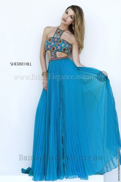 Multi-Colored Beaded Chiffon Gown | Sherri Hill 11206 | Bridal ...