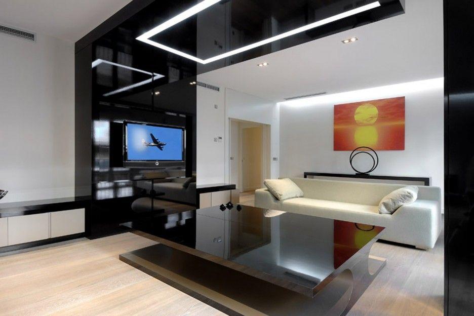 Tv wandpaneel und abgehängte decke schwarz von CERO Wohnzimmer - abgeh ngte decke wohnzimmer