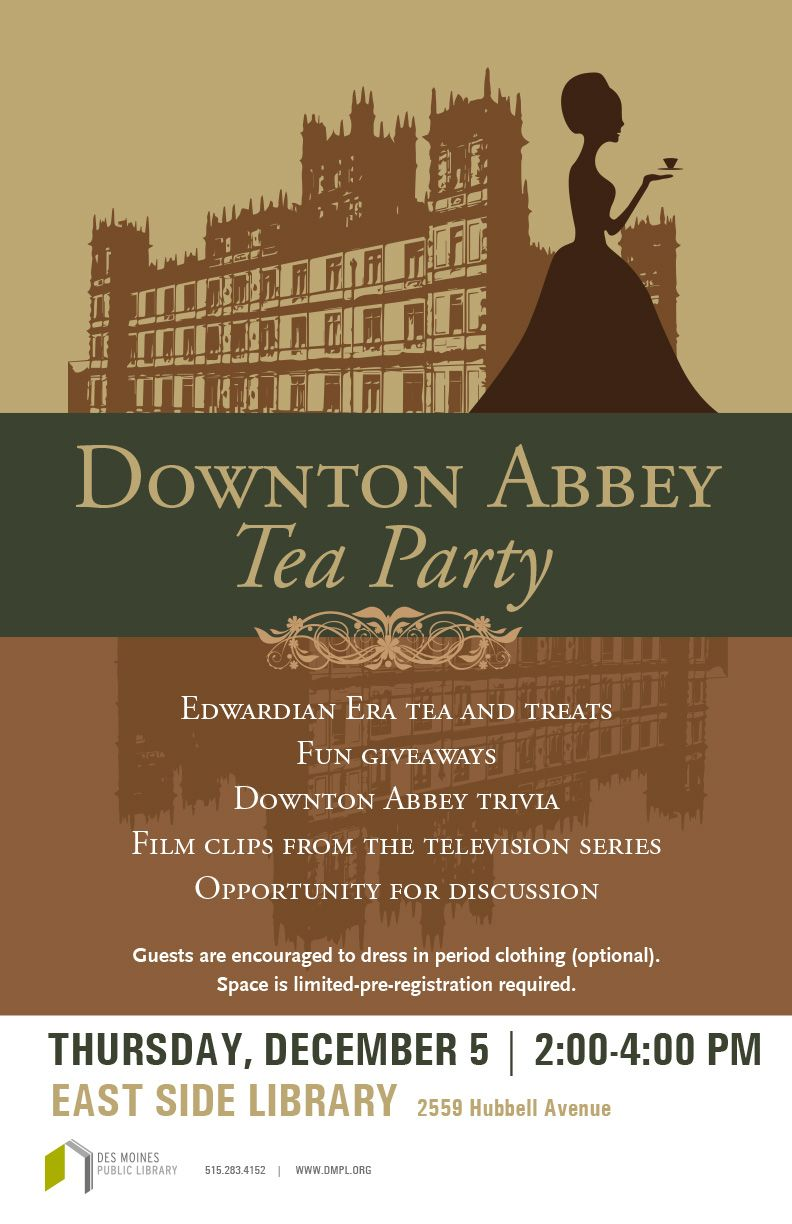 Downton abbey fans the east side library will be hosting a tea on downton abbey fans the east side library will be hosting a tea on thursday monicamarmolfo Image collections