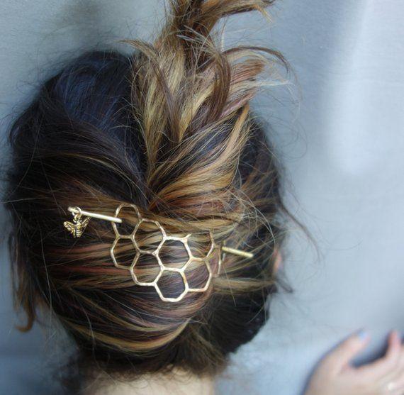 Large Brass Honeycomb Handmade Hair Bun Slide Pin