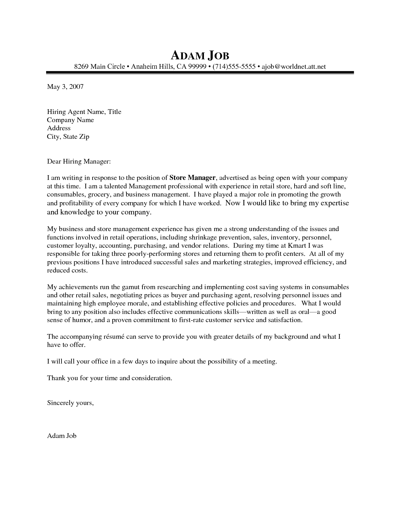 Retail Cover Letter Application Letter Sample For Any Position College Admissions