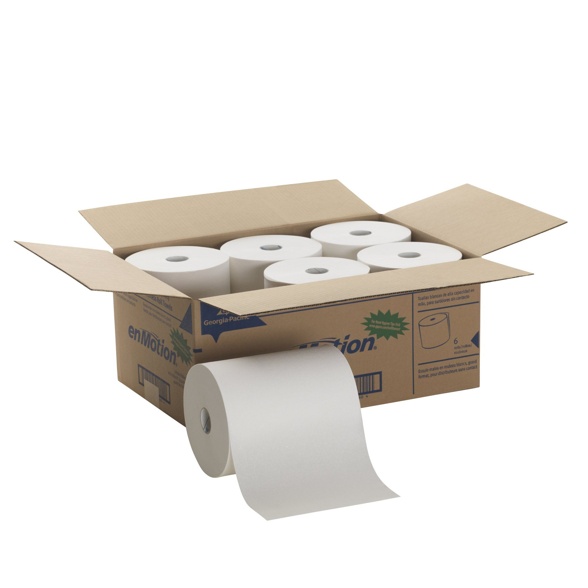 Georgiapacific Enmotion 89460 800 Length X 10 Width White High Capacity Touchless Roll Towel Roll Of 6 Rea Paper Towel Paper Towel Rolls How To Roll Towels