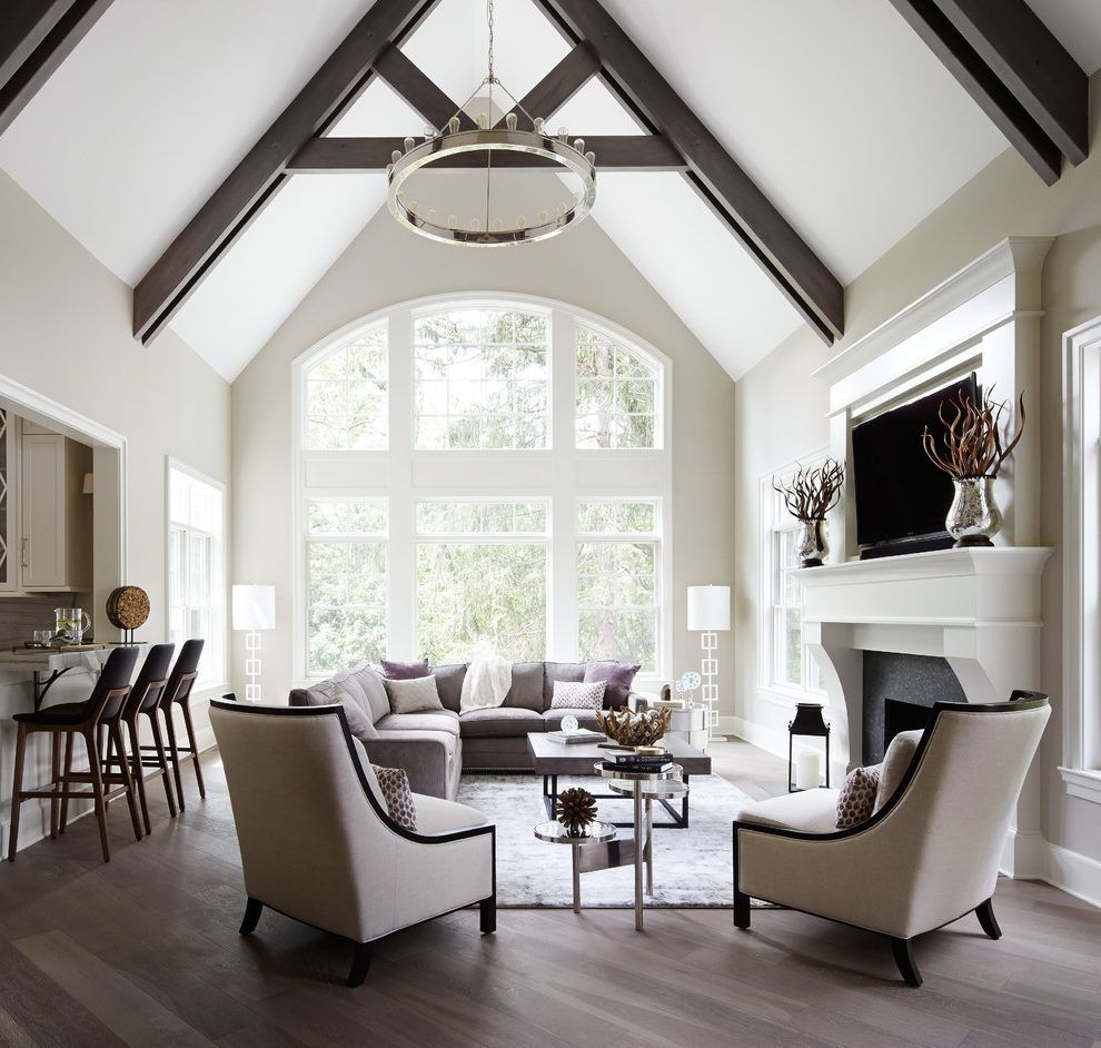 Vaulted ceiling beams ideas living room transitional with high ...
