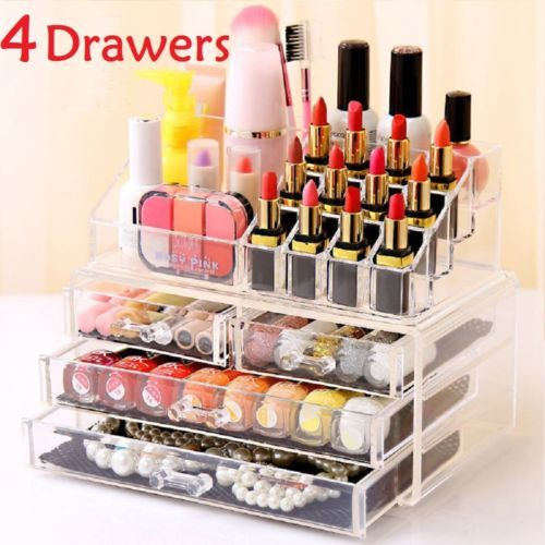 4 drawer cosmetic organizer clear acrylic makeup case jewelry