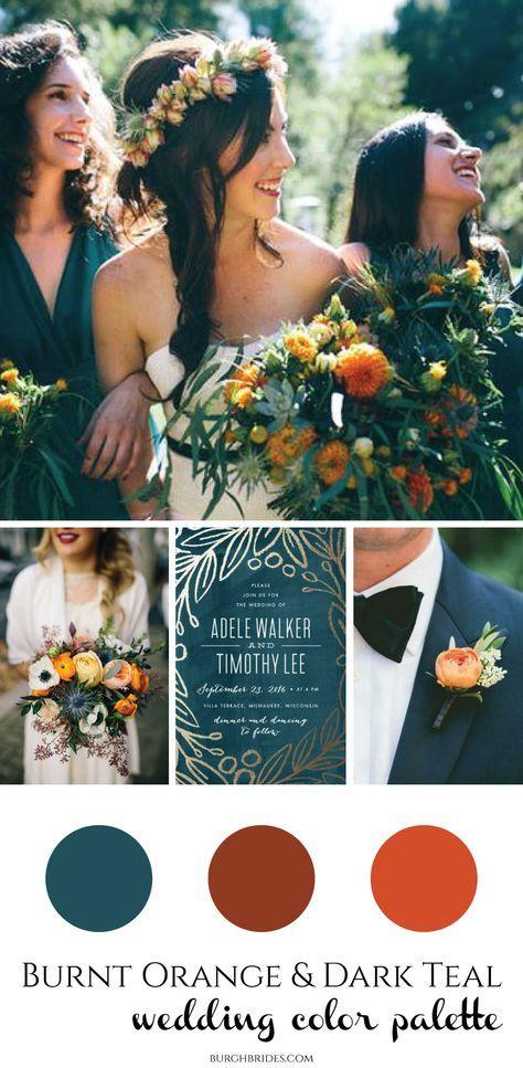 Gebrannte Orange u. Dunkle aquamarine Hochzeits-Inspiration   – Wedding