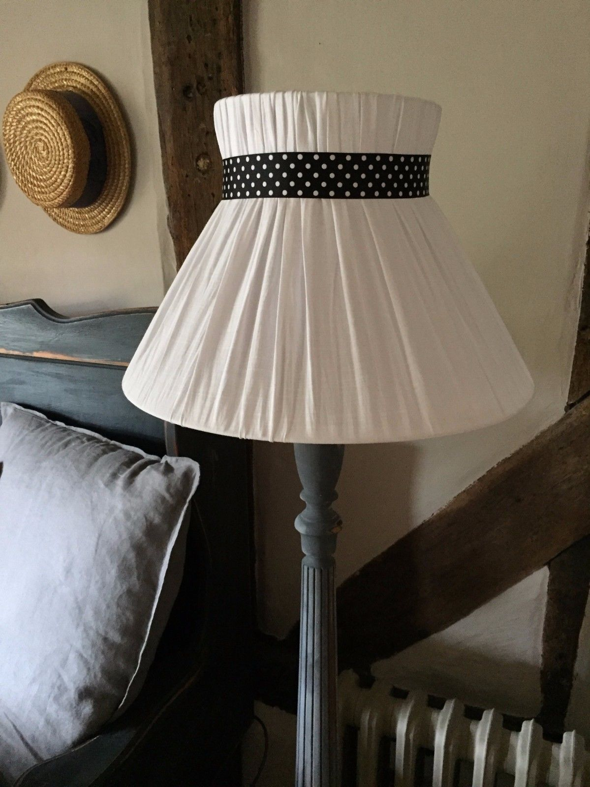 Shabby Chic Linen Lampshade Large Lamp Standard Size French Style
