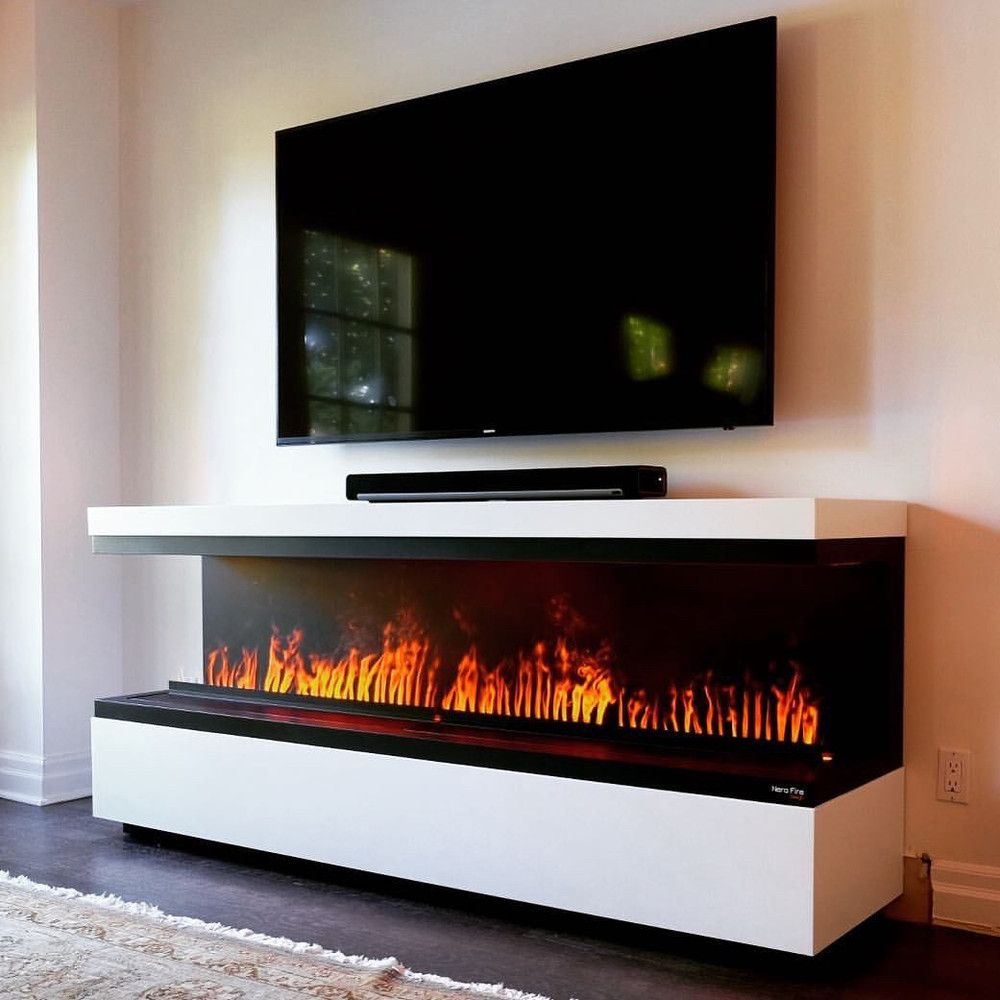 Nero Fire Design Electric Fireplace Tv Stand Wall Mount