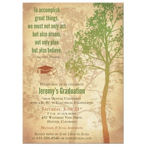 Rustic Green And Brown Tree Quote College Or University Graduation Party Invitation The Inspirational On This Grad Invite Says To Accomplish