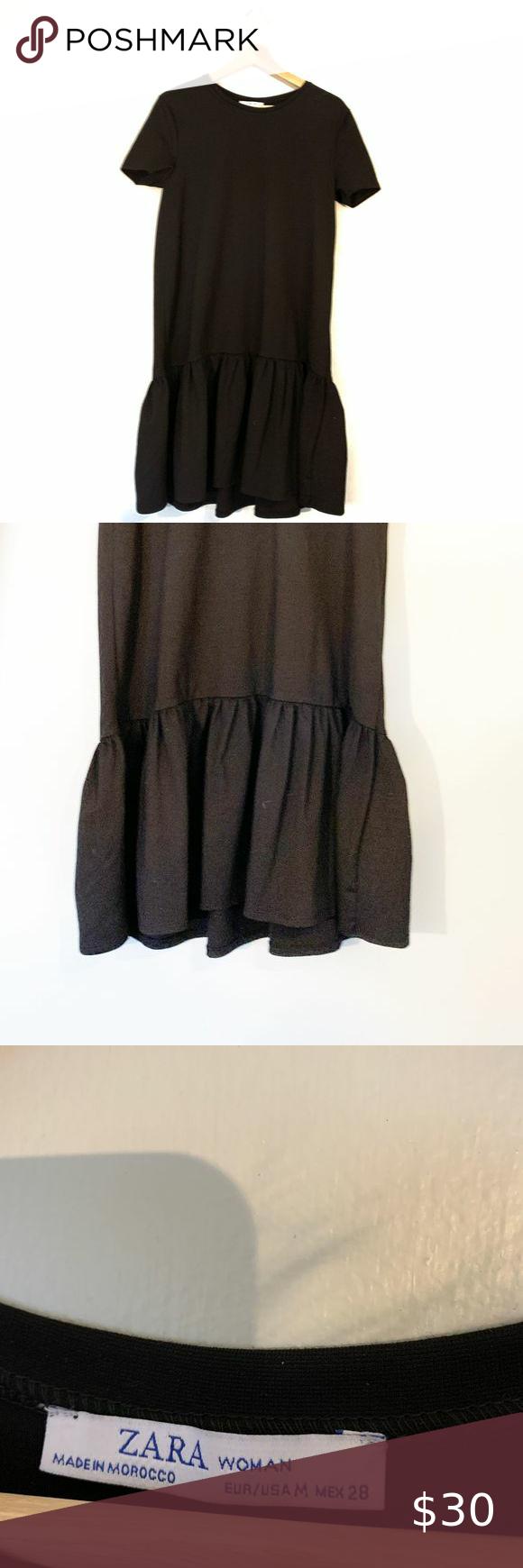 Zara Basic Black Sack Dress Medium Zara Basic Black Sack Dress Medium Straight Below The Knee Midi Dress With Ruffle Bot Sack Dress Clothes Design Zara Basic [ 1740 x 580 Pixel ]