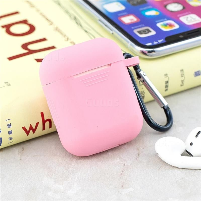 Non Slip Soft Silicone Case For Apple Airpods Pink Airpods 1 2