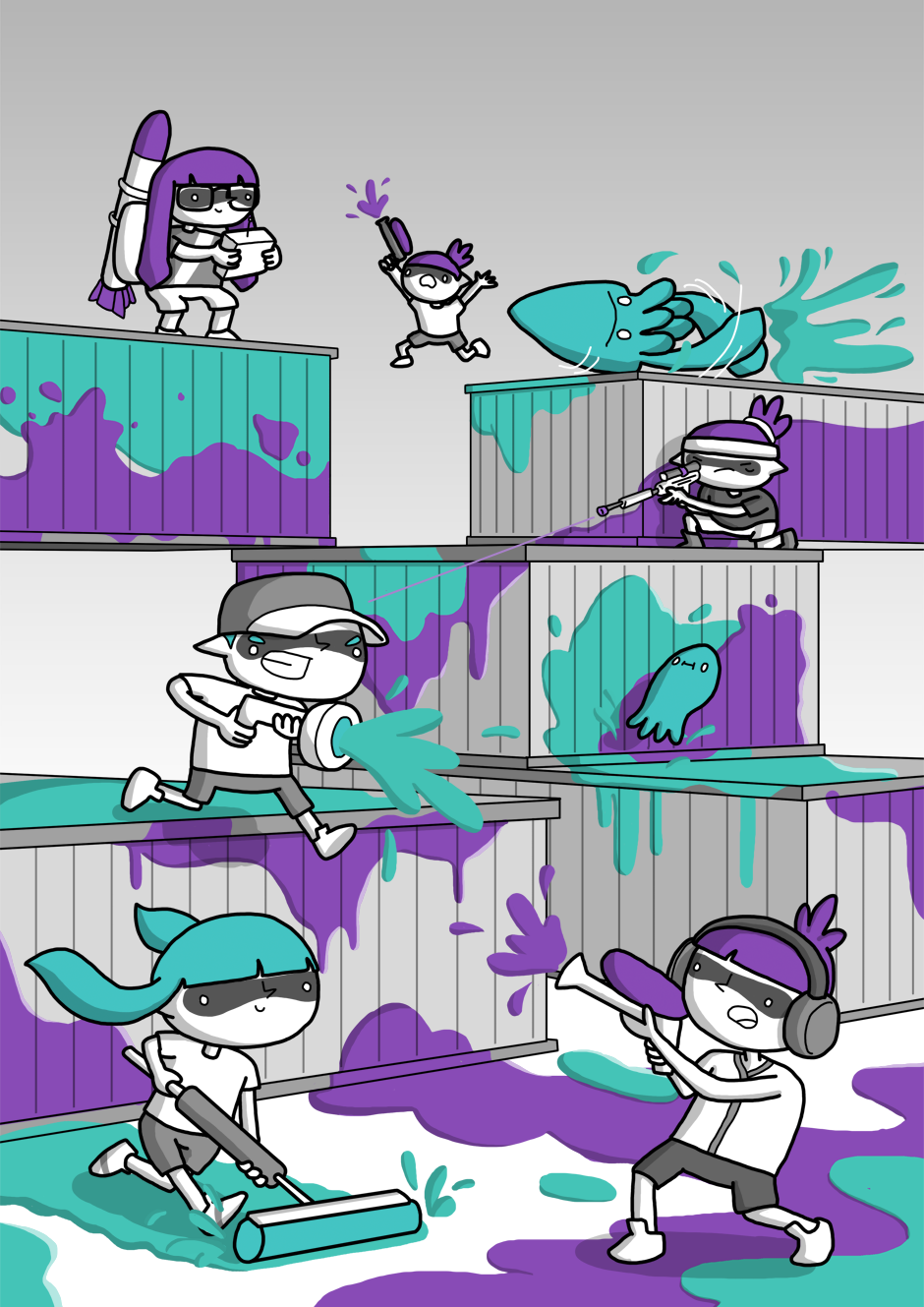 lol the tiny squid  splatoon games for kids anime