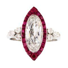 1913 Birks Ruby Diamond Ring